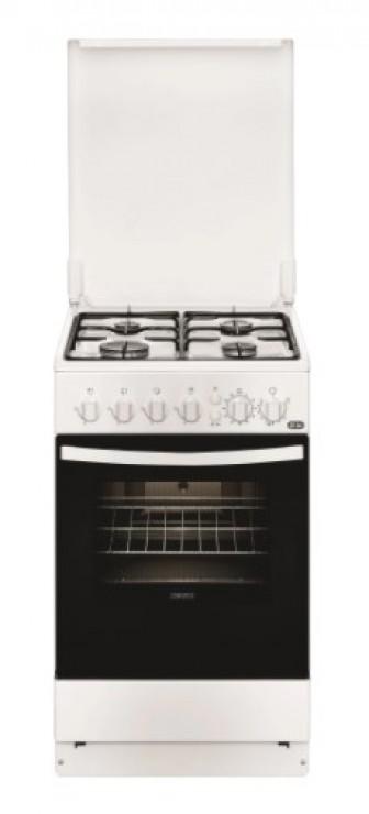 Aragaz Zanussi ZCG512G1WA, Gaz, 4 Arzatoare, Aprindere electrica plita/cuptor, Grill, Rotisor, 50 cm, Alb