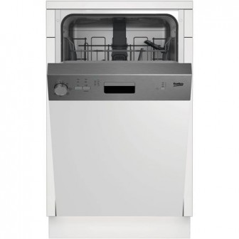 Masina de spalat vase incorporabila Beko DSS05011X, 10 seturi, 5 programe, Clasa A+, 45 cm, Inox